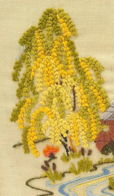 Crewel Embroidered Weeping Willow.