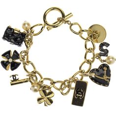 Pre-owned Chanel Black Enamel Gold Charm Bracelet ($795) ❤ liked on Polyvore featuring jewelry, bracelets, accessories, chanel jewelry, charm bracelet bangle, yellow gold charms, gold bangles and four leaf clover charm
