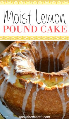 Lemon Pound Cake Pound cake made with fresh lemons topped with a sweet glaze is a family tradition born in the south! Easy Desserts, Delicious Desserts, Dessert Recipes, Yummy Food, Lemon Desserts, Moist Lemon Pound Cake, Scones, Pound Cake Recipes, Pound Cakes