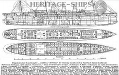 Hamburg America Line steamship Augusta Victoria, longitudinal sctional view and plans of the upper deck and main deck.