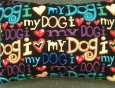 I Love My Dog Fabric Lavender Cushion - Handmade