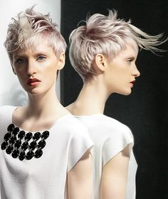 A medium grey straight coloured choppy silver messy quiff Womens haircut hairstyle by Bundy Bundy