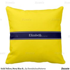 Solid Yellow, Navy Blue Ribbon Name Monogram Throw Pillows