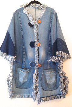 vintage denim jacket 1990s plus size denim fringe poncho handmade...Poderia ser mais bonito...