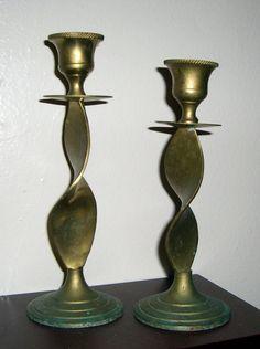 Candle Holders Vintage Candlesticks Solid Brass by TheBackShak, $12.00