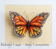 Quilled paper Monarch butterfly, 23 x 26 cm by Yesterday's news - today's accessories