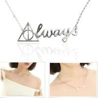New Arrival Women's Fashion Harry Potter Style Alloy Always Pendant Silver Choker Chain Necklace Trendy Charm Jewelry Findings Collar Ornament Accessories Friendship Creative Fine Chains Chokers Necklaces Pendants Birthday Gift for Women Girl