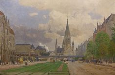 Friedrich Kallmorgen: Hardenbergstraße mit Kaiser-Wilhelm-Gedächtniskirche (1914).Vor der Kirche quert die Stadtbahn,limks zu sehen das Preussische Oberverwaltungsgebaeude......