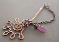 Swirly sun copper shawl pin stick or brooch with lilac beads and briolette dangle on chain with lobster clasp closure. $29.00, via Etsy.