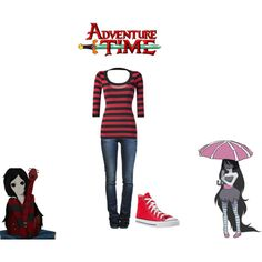 A fashion look from April 2012 featuring red top, blue jeans and red sneakers. Browse and shop related looks. Marceline Outfits, Adventure Time Clothes, Cartoon Outfits, Character Inspired Outfits, Disney Bound Outfits, Nerd Fashion, Fandom Outfits, Casual Cosplay, Themed Outfits