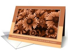 Happy Thanksgiving to Niece and her Family - Orange Blanket Flowers card