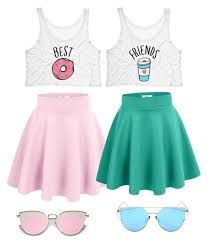 is part of Bff outfits - A fashion look from February 2017 featuring neon pink tank top, wide skirt and blue flared skirt Browse and shop related looks Teen Fashion Outfits, Mode Outfits, Outfits For Teens, Girl Fashion, Summer Outfits, Girl Outfits, Twin Outfits, Tween Fashion, Summer Dresses