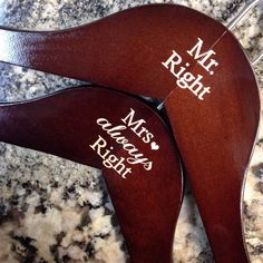 Engraved SET of Mr and Mrs mahogany/walnut wood hanger / anniversary gift / personalized bridal hanger / Mr Right Mrs Always Right :)