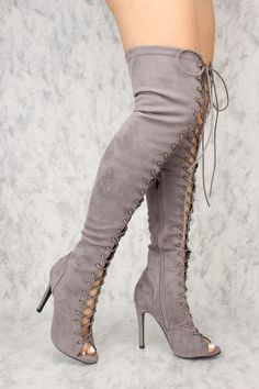 c081f59ccb1f86 Sexy Grey Lace Up Open Toe Thigh High Boots Faux Suede