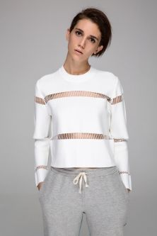 Front Row Shop Crop top with mesh stripes (white) Urban Fashion, Diy Fashion, Fashion Dresses, Womens Fashion, Sporty Style, Mode Outfits, Online Clothing Stores, Sport Fashion, Casual Chic