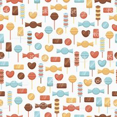 Seamless background with candies royalty-free stock vector art Seamless Background, Free Vector Art, Image Now, Royalty, Candy, Illustration, Sweets, Food, Paper