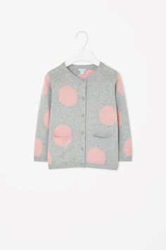 This cardigan is made from soft and comfortable cotton with an all-over dotted pattern. A relaxed fit, it has long sleeves, front pockets and a tonal button fastening. Small Wardrobe, Cotton Cardigan, Contemporary Fashion, Wardrobes, Fashion Brand, Baby Kids, Cos, Long Sleeve, Sleeves