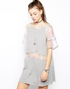 Image 1 of The Ragged Priest Sheer Mesh Panel T-Shirt Dress