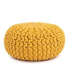 Brazilian Yellow Cable-Knit Pouf by Karma Living