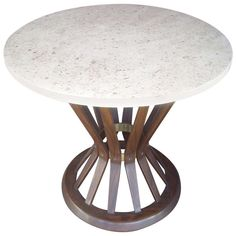 Edward Wormley For Dunbar Wheat Side/End Table with Lime Travertine Top | From a unique collection of antique and modern side tables at http://www.1stdibs.com/furniture/tables/side-tables/