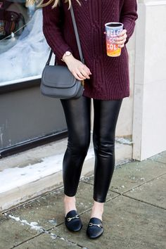 Perfect sweater for tall girls | Cable tunic turtleneck sweater for women | burgundy long sweater and leather leggings | winter outfit ideas
