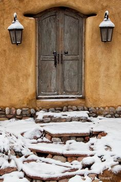 Leading to the Doorway Scene in Santa Fe, New Mexico after a light snow