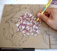 """Ok, this is the last part of the master-class and now you can finish the picture to the complete result: Our last master class was finished on the 7 step- """"by white again make smoother the edge between white ends of petals and another colors"""". Now it`s the time for magic and our colours…"""