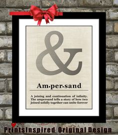 Unique Ampersand Sign Print: Custom Typography Wall Art Home Rustic Vintage Decor Poster Office Decor Gift Print Picture Choose Font & Color...
