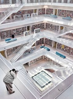 """Behold the central library of Stuggart, Germany. Christian Frank's serene shot won the """"Architecture"""" award."""
