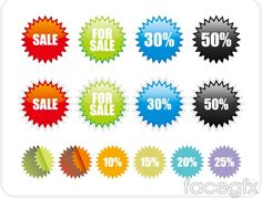 Color discount sale tag vector