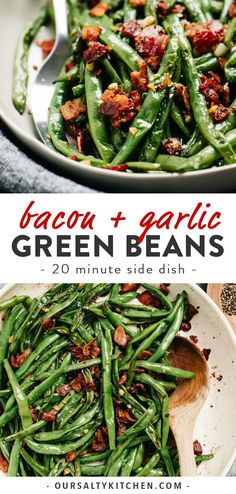 Green beans with bacon are the fast and easy side dish you need for everything from weeknight dinners to holiday celebrations like Thanksgiving and Christmas. Ready in 20 minutes using one pan and just four real, whole food ingredients, these green beans are incredibly easy and packed with huge flavor! Naturally low carb, Whole30, paleo, gluten free and dairy free, they're an excellent holiday recipe for a crowd. #sidedish #thanksgiving #quickandeasy #whole30 #lowcarb #dairyfree