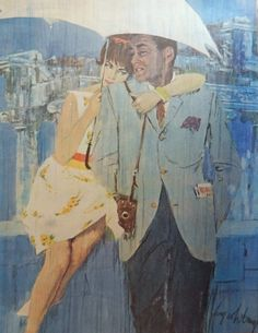 Coby Whitmore  60 s Color Illustration  scarce print art   man and woman in rain  Magazine Art
