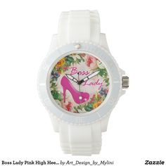 Boss Lady Pink High Heels Girly Vintage Flowers Wristwatches