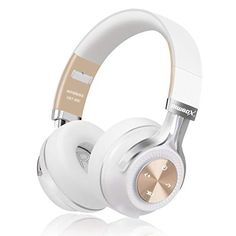 Bluetooth Headphones, Riwbox Wireless Bluetooth Headphones Over Ear with Microphone and Volume Control Wireless and Wired Foldable Headset for iPhone/iPad/PC/Cell Phones/TV (White&Gold) Cute Headphones, Gaming Headphones, Headphones With Microphone, Headphone With Mic, Sports Headphones, Wireless Headset, White Gold, Ear, Audio