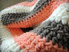 Cream, Coral, Tan Striped Crochet Baby Blanket