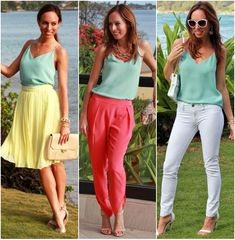 1 shirt 3 diff ways. Sydne Style how to wear a silk cami camisole trend J crew carrie hawaii vacation outfit ideas what to wear to a resort pastels spring 2014 w...