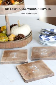 These darling DIY Farmhouse Wooden Trivets are so simple, quick and inexpensive. They are the perfect addition to your farmhouse kitchen!