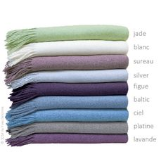 Athena throws by Yves Delorme combine 95% wool with 5% cashmere. These soft and cozy throws are available in an assortment of beautiful colors to coordinate with almost any Yves Delorme collection.