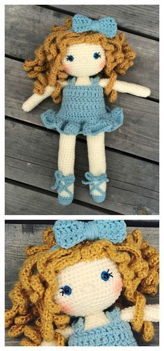 """The Friendly Grace Doll- The perfect doll to make for your little ballerina! She is 15"""" tall, with ballet shoes, and the sweetest tutu! Grace comes with 3 different ways to attach hair, the pattern for the dress, my best amigurumi tips and tricks, and enough pictures and help that even a beginner could make this doll!"""