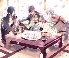 Hot Anime Guys, Anime Love, Touken Ranbu, Manga Anime, Anime Art, Mutsunokami Yoshiyuki, Nikkari Aoe, Boy Illustration, Art Poses