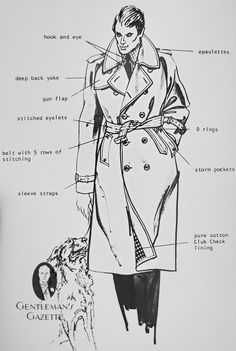 Drawing In trench coat terminology trenchcoat vintage mens fashion drawing Trench Coat Men, Burberry Trench Coat, Fashion Terminology, Aquascutum, La Mode Masculine, Gentleman Style, Fashion Sketches, Dandy, Well Dressed