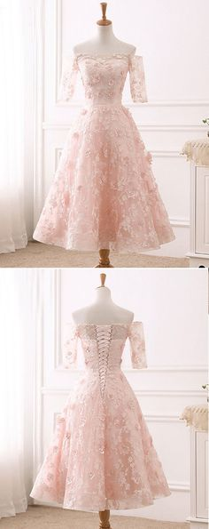 Pink lace sweet off shoulder tea length party dress with sleeves