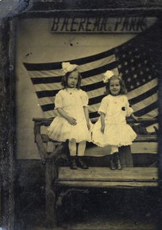 Unidentified Photographer (American, active ca. 1910) Marion Warner and friend in front of American flag, ca. 1910, tintype, Gift of Marion Warner, George Eastman House
