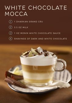 This Mocca Chocolat Blanc recipe from Nespresso will change everything you thought you knew about traditional mochas. Luxuriate in the layers of sweet white chocolate sauce, bold Dharkan Grand Cru, and smooth milk foam. Top this indulgent white chocolate mocha off with chocolate shavings for an irresistible presentation and an even better taste.