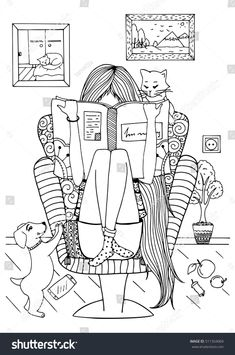 Vector Illustration Zentangl Girl Sitting In A Chair Reading Book Coloring Anti Stress For Adults
