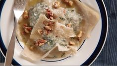 Spicy Greens Ravioli. Uses won-ton wrappers. Great vegetarian meal. Sara Moulton's Weeknight Meals.