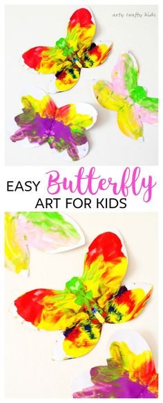 Easy Butterfly Kids Art is part of Easy Butterfly Kids Art Arty Crafty Kids - An easy butterfly kids art project for toddlers and preschoolers A simple and cheerful twist on a classic kids art process Spring Art Projects, Toddler Art Projects, Spring Crafts For Kids, Easy Art Projects, Toddler Crafts, Easy Preschool Crafts, Craft Activities For Kids, Kids Crafts, Preschool Art