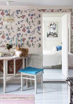 Kaksi suloista mummonmökkiä kukkatapetteineen ja linnunmunansinisine lautalattioineen. Näissä taloissa asuu Janne seitsenvarpaisen kissansa kanssa.