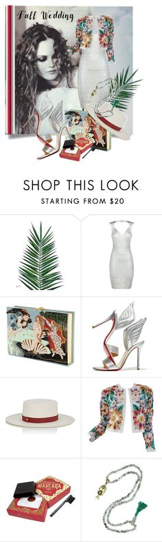 """Fall Wedding"" by kari-c ❤ liked on Polyvore featuring Nika, Hervé Léger, Olympia Le-Tan, Christian Louboutin, Janessa Leone, Naeem Khan and fallwedding"