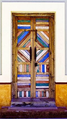 Colorful wood door in La Paz, Baja California Sur, Mexico.